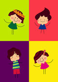 Four happy kids on the colorful background — Stock Vector