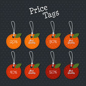 Set of fruit shaped labels and tags — Stock vektor
