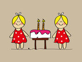 Twin girlswith a birthday cake and candles — Stock Vector