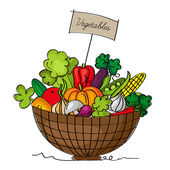 A basket of vegetables — Stock Vector