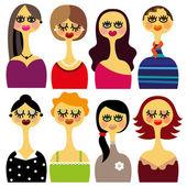 Set of beautiful woman faces — Stock Vector