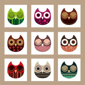 Owls set — Vettoriale Stock