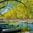 Annecy, boats and channel from lovers' bridge - Stock Photo