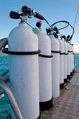 Oxigen tanks for scuba diving — Stock Photo