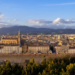 Florence, panorama with Basilica of the Holy Cross - Stock Photo