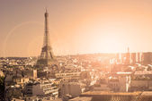 Eiffel Tower, Paris, panoramic view from Triumphal Arch — Stock Photo