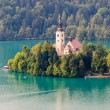 Lake Bled and island, Gorenjska region, Slovenia — Stock Photo