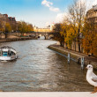 Stock Photo: Autumn in Paris, cruise on river Seine