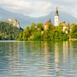 Lake Bled, island and Castle, Slovenia — Stock Photo
