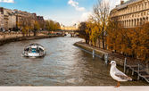 Autumn in Paris, cruise on river Seine — Stock Photo