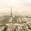 Panoramic view on Tour Eiffel and La Defense, Paris — Stock Photo
