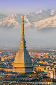 Turin (Torino), Mole Antonelliana and Alps — Stock fotografie