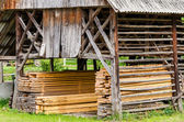 Typical old barn (double hayracks) in Slovenia — Stock Photo