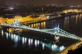 Budapest, night panorama with Elisabeth Bridge — Stock Photo