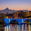 Turin (Torino), river Po and Monviso at sunset — Stock Photo #42273923