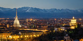 Turin (Torino), night panorama with Mole Antonelliana and Alps — Stock Photo