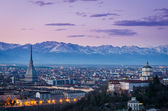 Turin (Torino), twilight panorama with Mole Antonelliana and Alps — Stock Photo