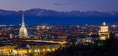 Turin (Torino), night panorama with Mole Antonelliana and Alps — Stock Photo