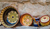 Bulgaria, typical decorated bowls and vases — Stock Photo