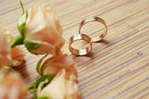 Roses and two wedding rings — Stock Photo