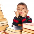 Boy with books and pencil — Stock Photo