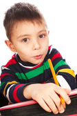 Boy with book and pencil — Stock Photo
