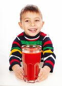 Chłopiec z soku pomidorowego — Zdjęcie stockowe