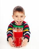 Boy with tomato juice — Foto de Stock