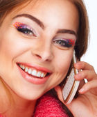 Portrait of a beautiful girl talking on the phone — Stock Photo