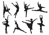 Silhouettes of ballet dancers — 图库矢量图片