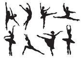 Siluetas de los bailarines de ballet — Vector de stock