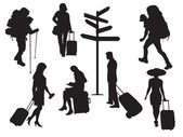 Silhouettes of tourists — Stock Vector