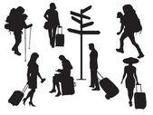 Silhouettes of tourists — Stok Vektör