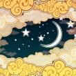 Cartoon-Stil-Landschaft mit Baum und Mond — Stockvektor