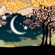 Royalty-Free Stock Vector Image: Cartoon style landscape with tree and moon