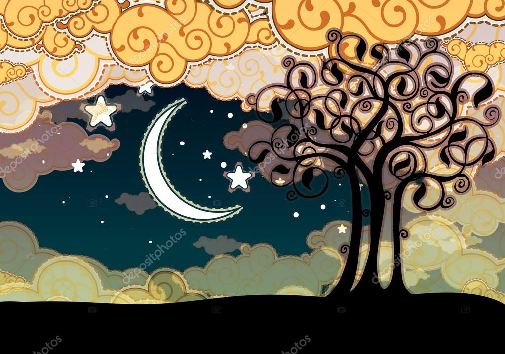 Cartoon style landscape with tree and moon — Stok Vektör #12757167