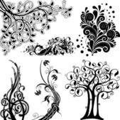 Floral ornament elements set — Stock Vector