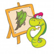 Stock Vector: Snake painter