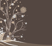 Tree and snowflakes — Vector de stock