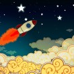 Cartoon rocket flying to the stars — Stock Vector