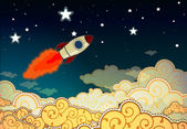 Cartoon rocket flying to the stars — Wektor stockowy