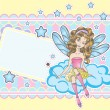 Little fairy sitting on the cloud design template - Stock Vector