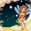 Little fairy sitting on the moon - Stock Vector