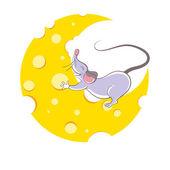 Mouse and cheese halfmoon, cartoon style — Stock Vector
