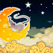 Mouse and cheese halfmoonin the sky, cartoon style - Stock Vector