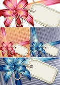 Gift bow with a blank tag set — Stockvector