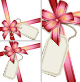 Gift bow with a blank tag set — Stockvektor