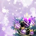 Christmas tree with burning candles and Christmas balls — Stock Vector