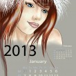 Young woman in fur hat january 2013 calendar — Stock Vector #14132100