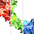 Floral fractal  ornament banner templates set - Stock Vector